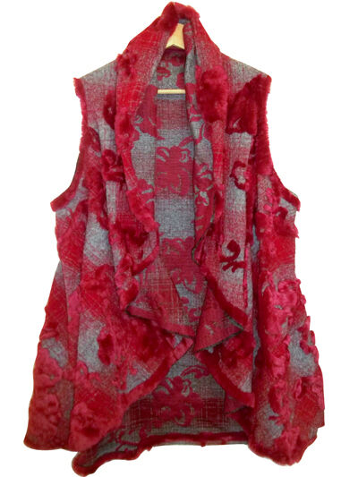 WOMENS WOOL BLEND BURN OUT OUT OUT FUR GILET in 3 COLOURS FreeSize - Bust 40-50ins 74679b