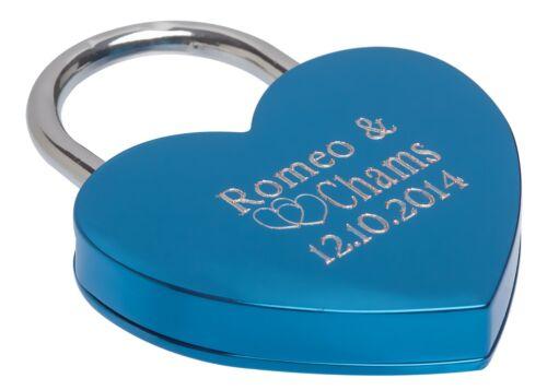 Herz Liebesschloss Blau Herzbox mit Gravur Hochzeitstag Jahrestag Geld Geschenk