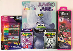 5pc-Trolls-World-Tour-Coloring-amp-Activity-Book-Crayons-Markers-Watercolors-Set