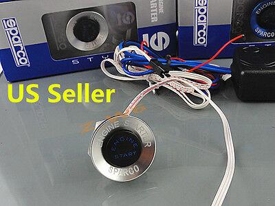 12V Car Engine Start Silver Push Button Switch Ignition Starter Kit Blue LED