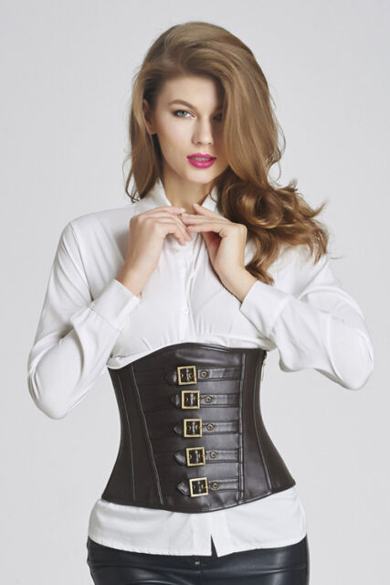 Sexy Steampunk Gothic black faux leather & buckles underbust corset basque