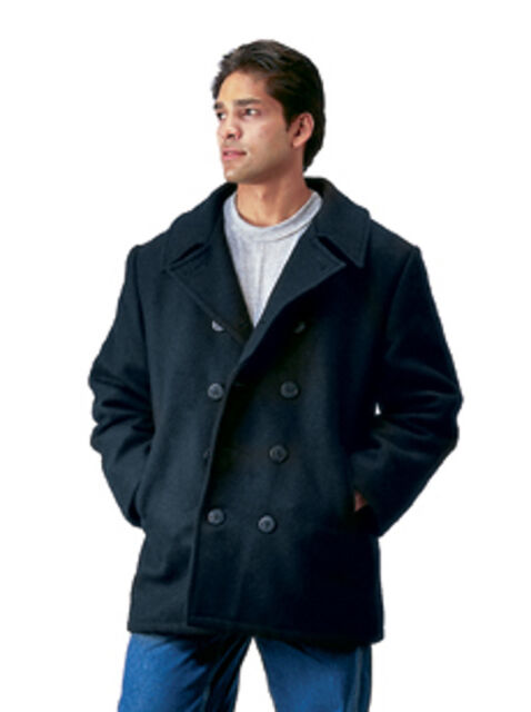 Wool US Navy Type Pea Coat Black by Rothco ALL SIZES FROM XS TO 6XL Mens Coat