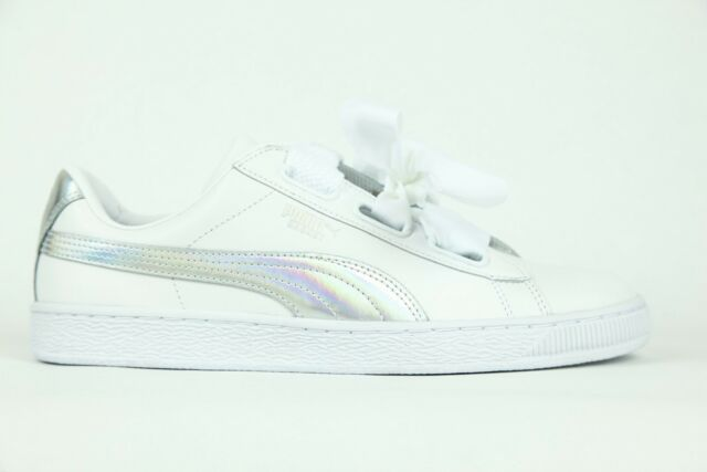 4a02bb209acc Womens Puma Basket Heart Explosive Lace Up White Leather Ladies Trainers