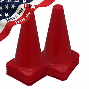9-034-inch-RED-Cones-Sport-Agility-Traffic-Field-Soccer-Football-Training-QTY-12