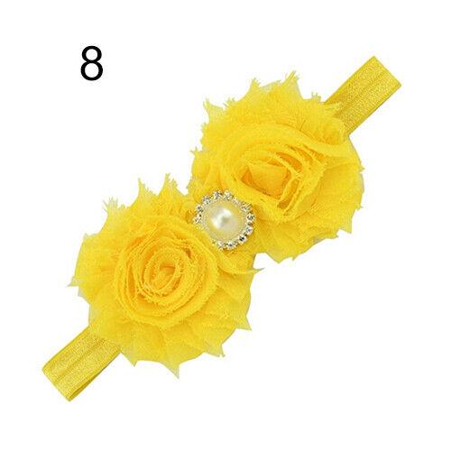 Qu/_ AU/_ Baby Infant Toddler Girl Faux Pearl Rhinestone Flower Headband Hair Band