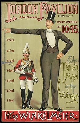 Vintage Freak Show Poster Tallest Man In The World Poster A3//A2//A1 Print
