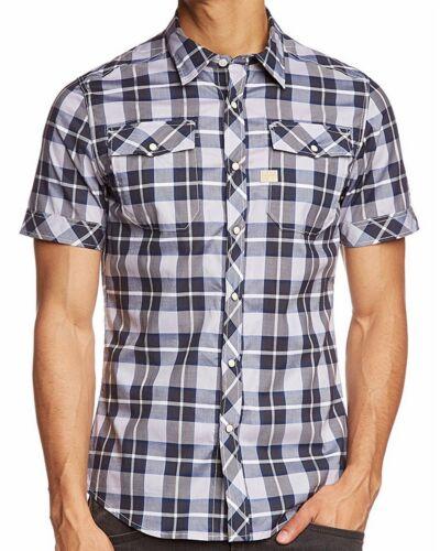 G-STAR Raw Men/'s Blue Plaid Landoh Casual Short Sleeve Button Front Woven Shirt