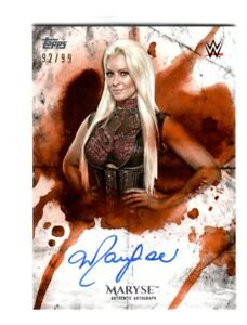 WWE-Maryse-2018-Topps-Undisputed-Orange-On-Card-Autograph-SN-92-of-99
