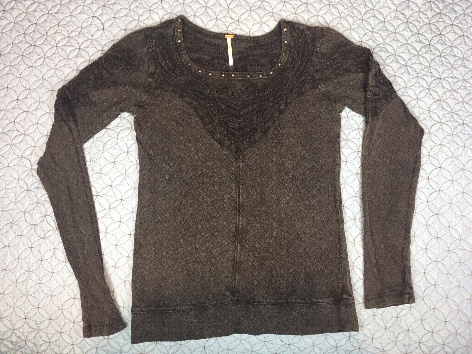 Free People Thermal Top Embroiderot Boho Steampunk Lacy Cotton Blend damen Sz S