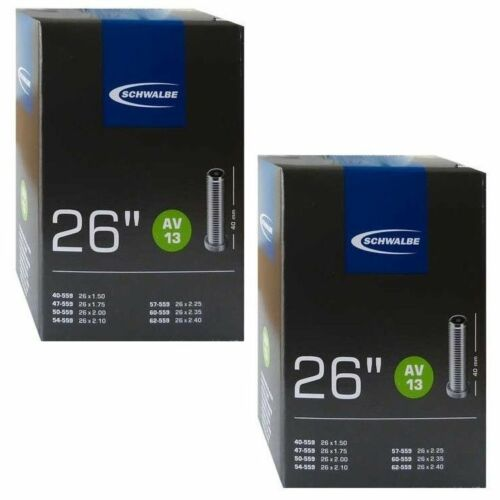 2x Schwalbe AV13 MTB Inner Tubes Schrader Car Valve 26in x 1.50-2.40