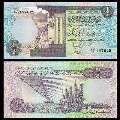 LIBYA 1//2 DINAR 1991 P-58c SIG//5 JIHIME UNC *//*