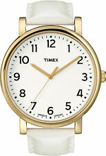 Timex Large Quartz Watch T2P170 White leather strap and Indiglo Night Light