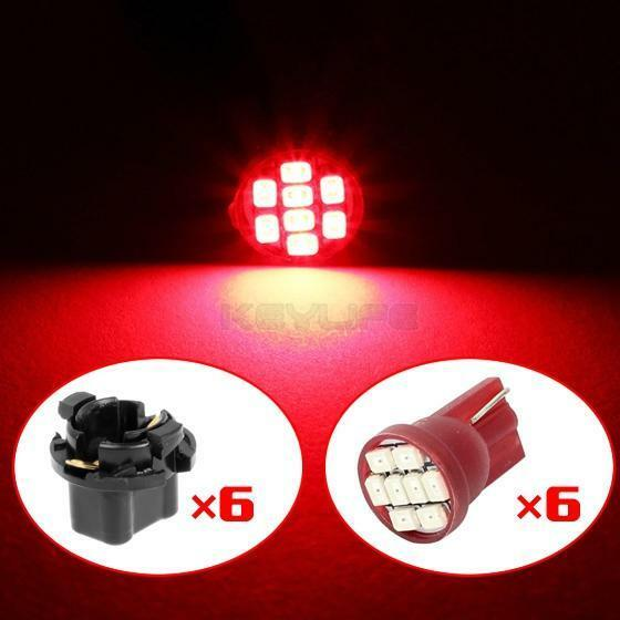 Partsam 20PCS T10 PC194 168 8-SMD Instrument Panel LED Lights Guage Cluster Lamp Bulbs Speedometer Odometer Dash Indicator Red