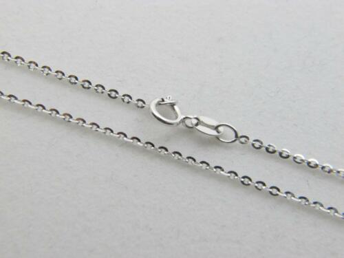 """Real 10K WHITE Gold Solid Flat Link Chain Necklace real gold 10kt 18/"""" length"""