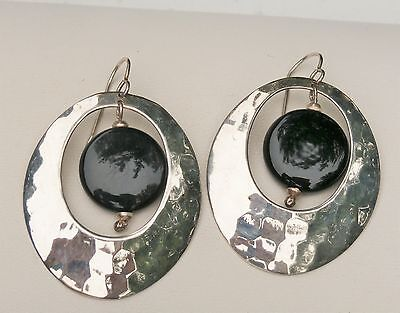 "Mexico Artisan Dominique Dinoart 2"" Sterling Silver Ovals Onyx Bead Earrings"