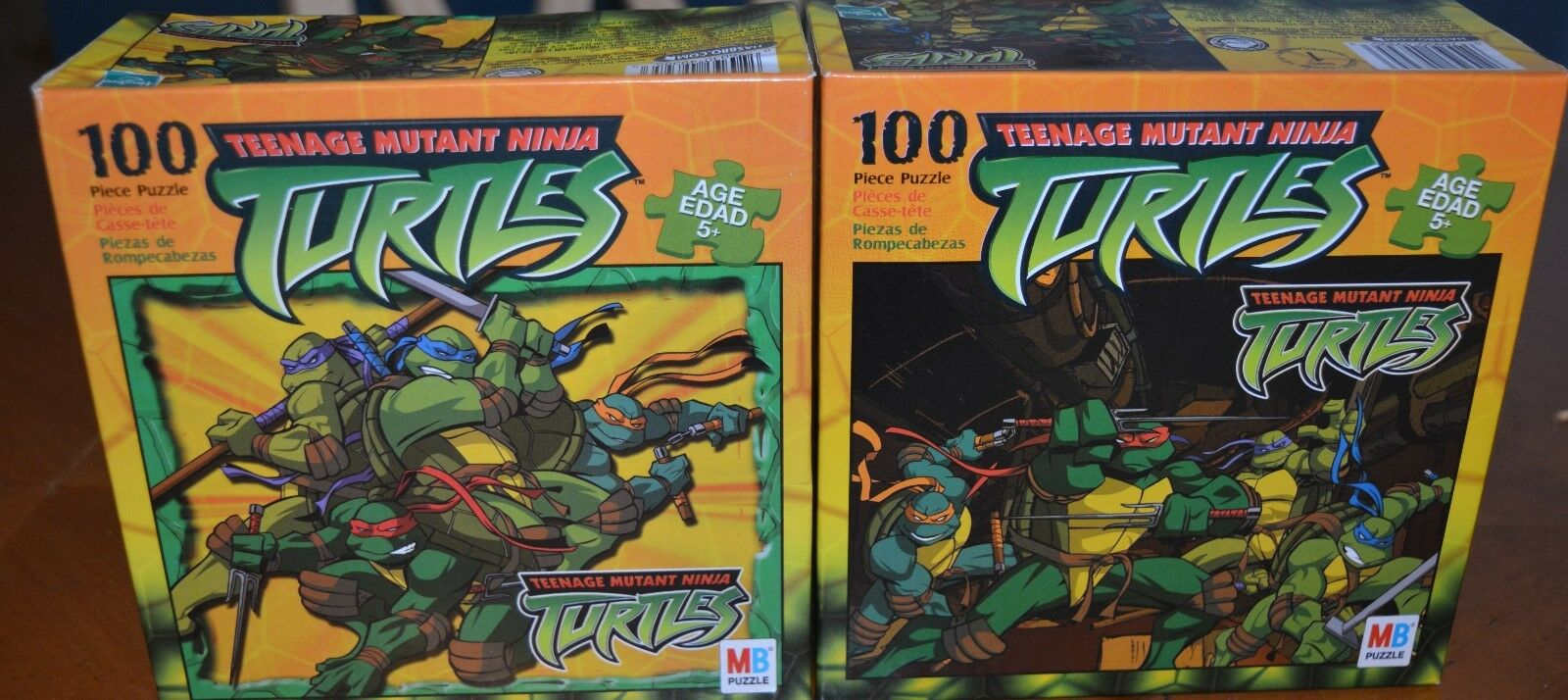 RARE PAIR OF NEW SEALED 2003 TEENAGE MUTANT NINJA TURTLES PUZZLES 100 PCS EACH