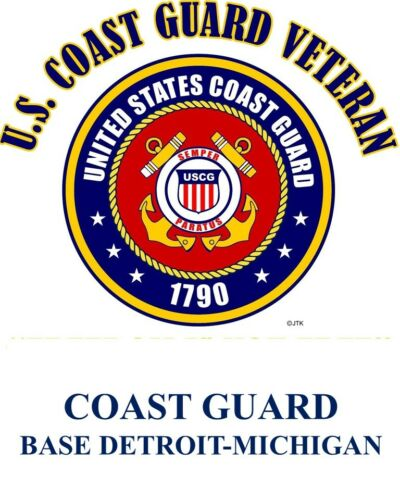 COAST GUARD BASE DETROIT-MICHIGAN *COAST GUARD VETERAN EMBLEM*SHIRT
