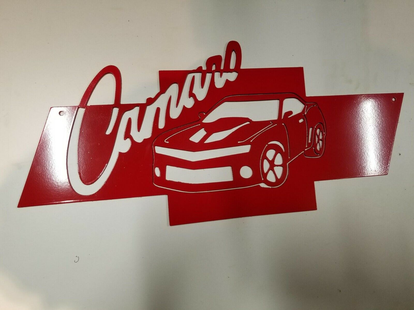 Chevy Heart beat Bowtie Camaro Man cave Metal art. 10.5  x 23