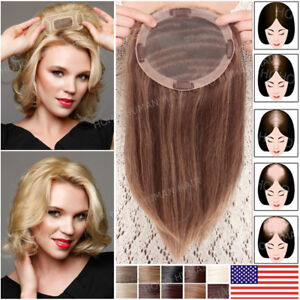 Women-039-s-100-Human-Hair-Top-Of-Head-Topper-Piece-Extensions-Black-Blonde-Thick-T