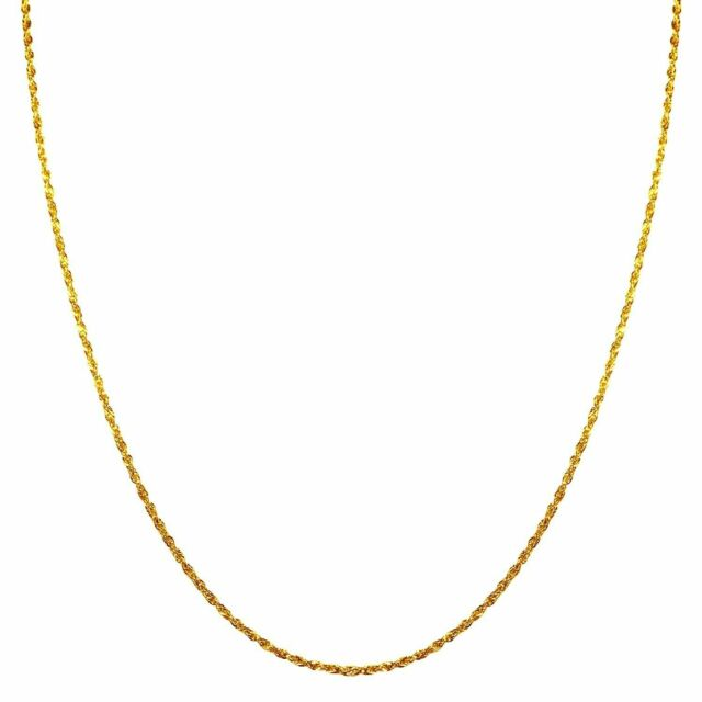 1mm 14k Gold Rope Chain Necklace with Spring Ring