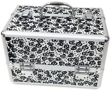 Large Floral White Beauty Cosmetic Box Make Up Vanity Case Nail Tech Saloon Bag
