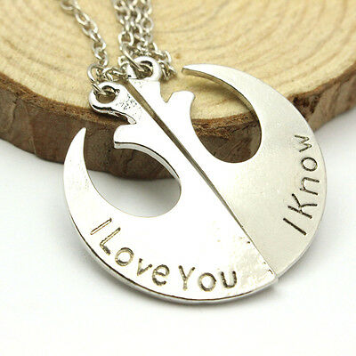Star Wars Rebel Insignia Love couples Necklace Friends Gift I love you I know