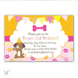 30 puppy invitation cards pink orange girl birthday party invite image is loading 30 puppy invitation cards pink orange girl birthday stopboris Gallery