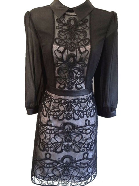 Womens Karen Millen Graphic Lace Embroidered Dress Size Uk 12 40
