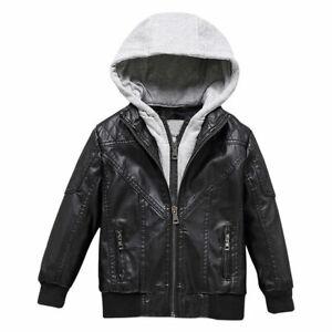 Cool Leather Jacket Fleece warm Coat Outerwear New Kids ...