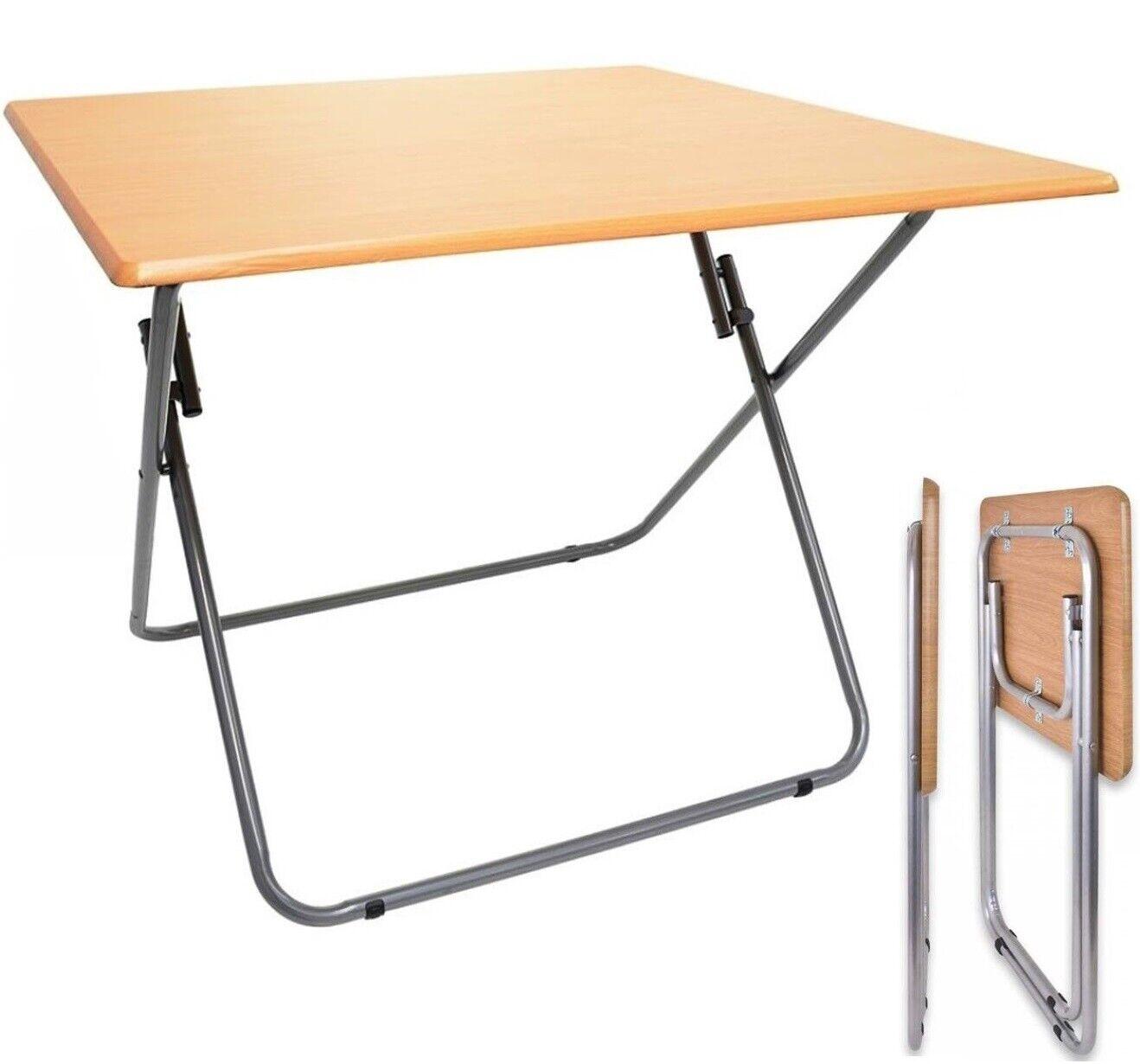 Mesa plegable portátil para Camping Terraza Jardín Metal y madera 70x60x60cm