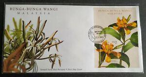 2001-Malaysia-Scented-Flowers-Bunga-Wangi-Miniature-Sheet-MS-FDC-Melaka-Lot-C