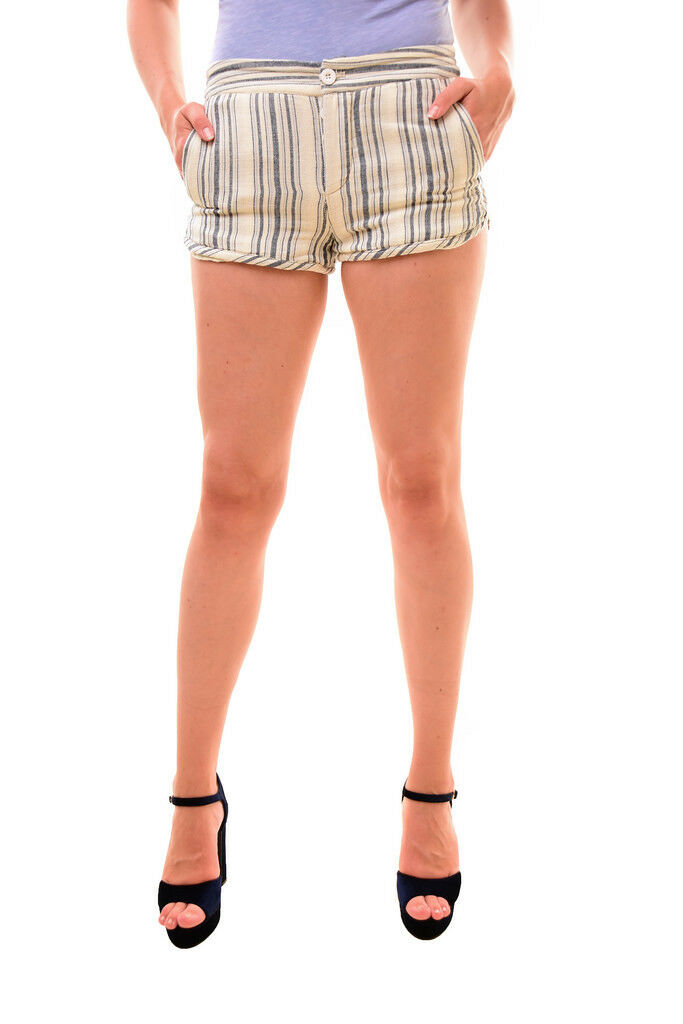 Free People Unique Women's Night Moves Striped Shorts bluee Header Size 4 RRP 59