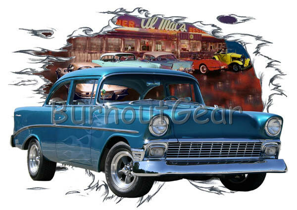 1956 blu Flames Chevy 210 Sd Diner b Custom Hot Rod Diner Sd T-Shirt 56 Muscle Car Tee's 68e301