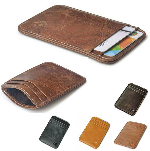 Men Genuine Leather ID Credit Card Wallet Holder Slim Pocket Case Business Pouch