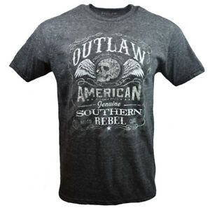 Outlaw-Southern-Rebel-Men-039-s-T-shirt-American-Moto-Club-Hell-Bent-Skull-Wings