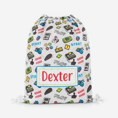 Personalised Gaming Gamers Kids PE Swimming School Children/'s Drawstring Bag