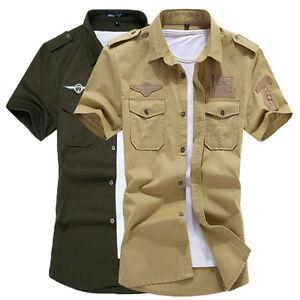 Military-Style-New-Men-039-s-Fashion-Casual-Slim-Short-Sleeves-Shirts-US-XS-XL-XD118