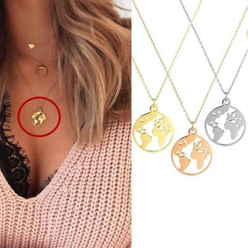 Weltkarte Halskette weiblich Anhänger Zubehör Silber Halskette Kette ogzlx