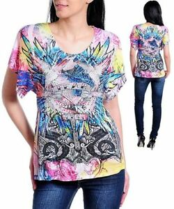 S21-M-Medium-Tattoo-Print-w-Rhinestones-Stretch-Top