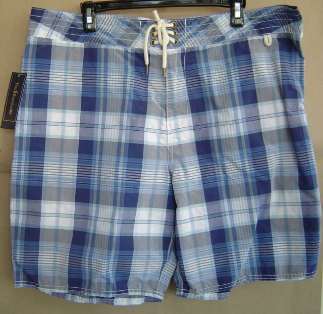 253335f070 POLO RALPH LAUREN Dering HARBOUR BOARD SHORTS Indigo BLUE WHITE Swimming  Shorts Herrenmode