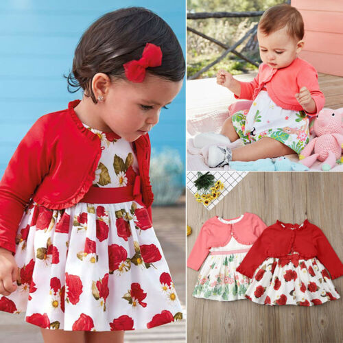 UK Toddler Baby Girl Ruffle Kids Top Coat Floral Skirt Dress Autumn Outfit Sets