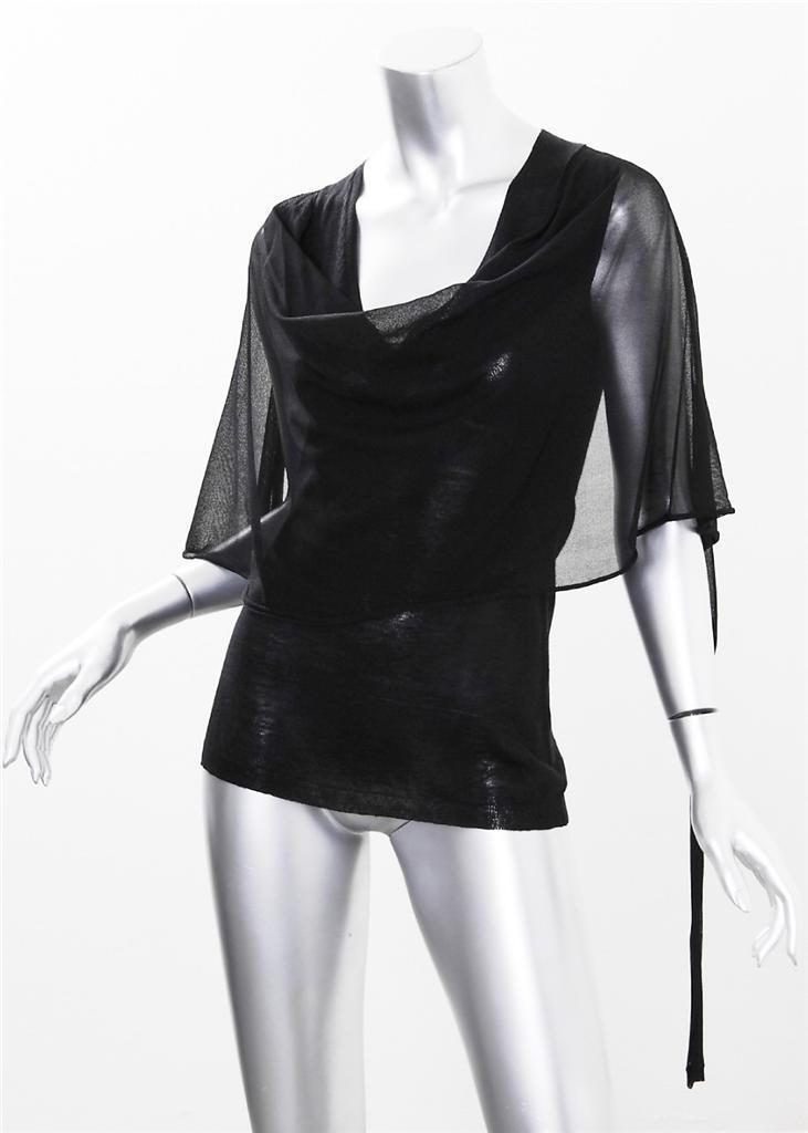 GIVENCHY damen schwarz Wool Linen Knit Sleeveless Cowl Neck Shirt Top Blouse XS