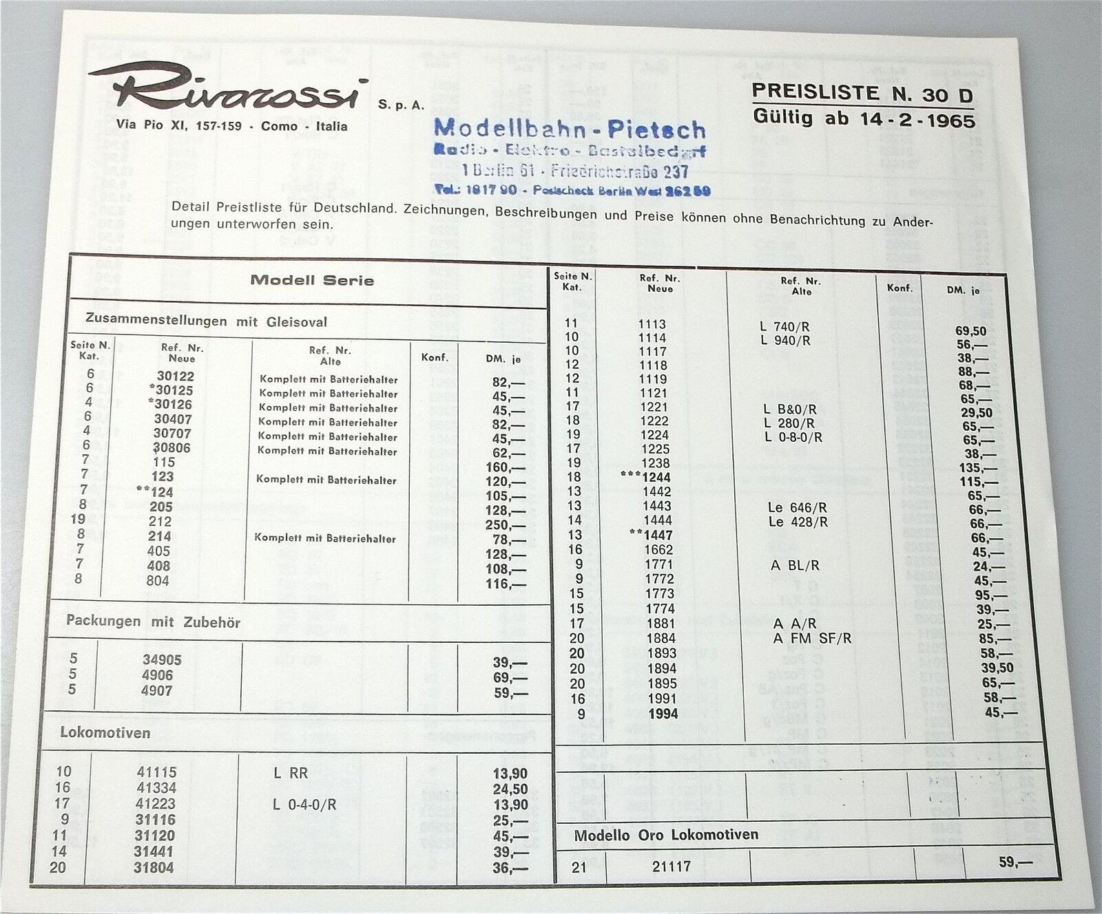 Rivarossi Preisliste N.30 D 1965         å