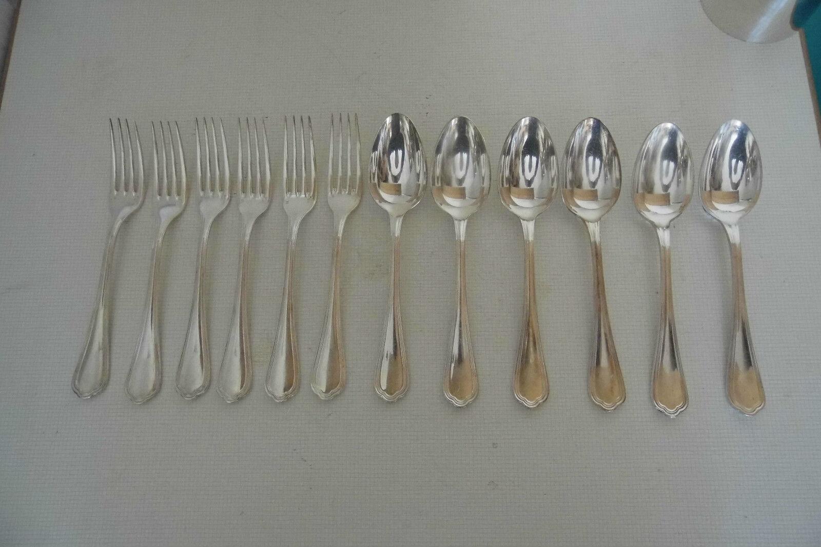 CHRISTOFLE 6 couGrüns,(cuillères + fourchettes) en métal Silberé.MODELE SPATOUR.