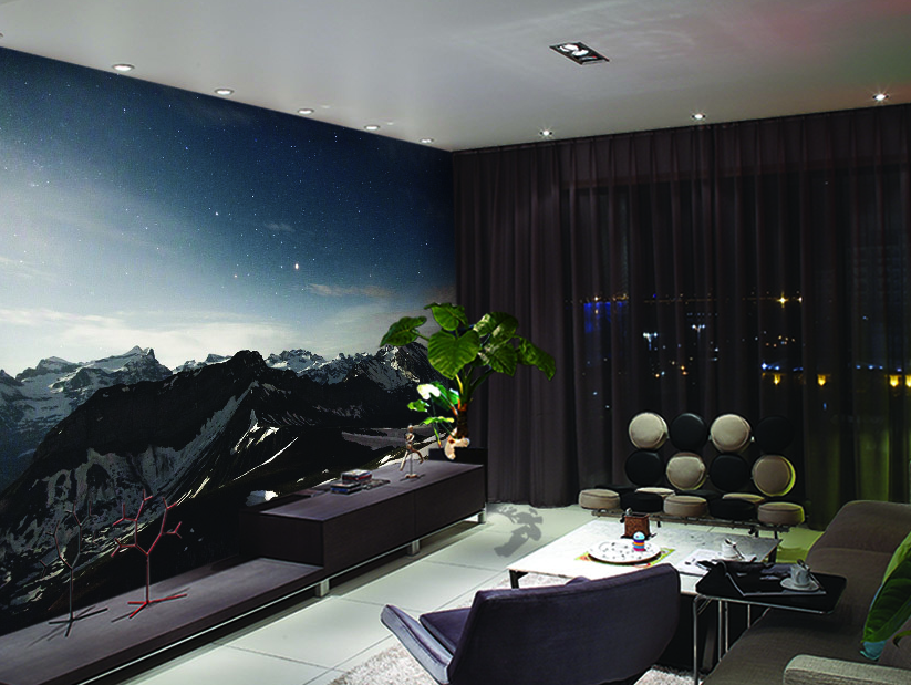 3D Mountains Stars Sky 1601 Paper Wall Print Wall Decal Wall Deco Indoor Murals
