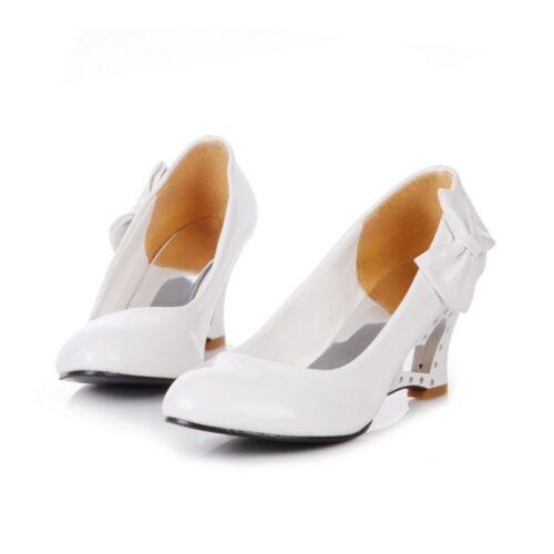 New Women/'s Patent Leather Round Toe Bowtie Wedge Pumps Sandals Shoes Plus Size