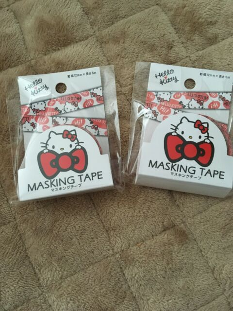 SANRIO Hello Kitty  Masking Tape 1 roll W12mm x L5m decorate wrapping 1set in 2