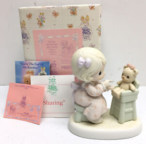 """Precious Moments Members Only Figurine """"Sharing"""" Girl w/Bear #PM942 Vintage 1994"""