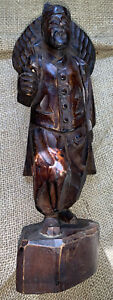 Vintage Carved Wood Oriental Walking Man With Backpack Missing Walking Stick