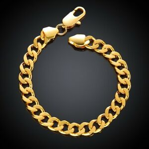 18K-Yellow-Gold-Plated-Link-Bracelet-7-8-034-MADE-IN-ITALY